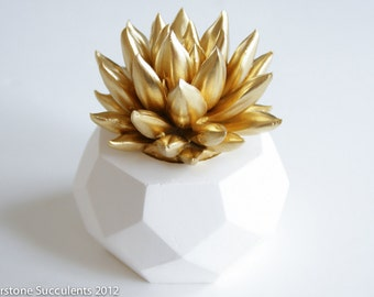 Succulent Sculpture Faux Plant Geometric Planter Gold Succulent Gift Desktop Accessory Modern Minimalist Home and Office Decor Art Object