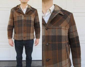 1960s mens sherpa lined wool jacket, plaid wool jacket, M/L