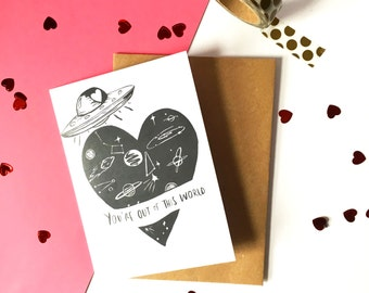 SALE! You're out of this world, Space Heart Illustrated Greeting Card