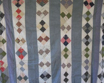 Antique Blue Calico Quilt Top, Four Patch Bars, PA