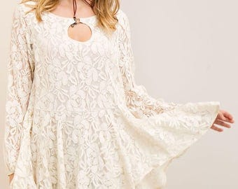LACE A-LINE TOP - Lace top - Key hole cut out top - O ring - Lace accents  top - Black lace top - White lace top - Flowing skirt top
