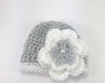 baby hat,crochet baby hat, premie hat, crochet premie hat, gray and white hat, hat with flower