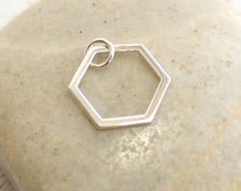 Sterling Silver Single Honeycomb Charm -- 1 Piece Geometric Hexagon... larger version