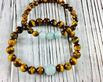 Abundance Bracelet - Couples Bracelet - Tiger Eye Bracelet - Amazonite Bracelet - Courage,  Self Expression - yoga bracelet - mens bracelet