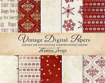 ON SALE Christmas Scrapbook Papers , Vintage Digital Paper Pack, Card Making,sku- 28