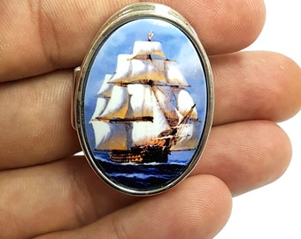 Enamel pill trinket snuff box 925 sterling silver hallmarked depicting a Galleon sailing ship nautical