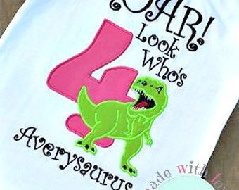 ROAR Look Who's 4 Dinosaur Birthday Shirt-Dinosaur Birthday Shirt-Dino Birthday Shirt-Dinosaur Shirt-Custom Birthday Shirt