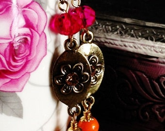 Majenta-Orange flower motif earrings / Bright colored dangler earrings with antiqued gold flower motif / Handmade / DesignsBySumi