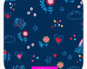 SALE Cotton Jersey fabric, combined to the Rainbow Unicorn, butterfly, blue, clouds, 50 cm