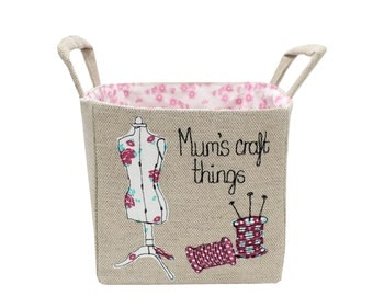 Craft storage basket, Craft bin, fabric & sewing basket, Personalised gift, notions tidy, embroidery tidy