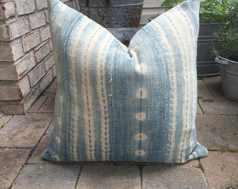 very faded african indigo  pillow cover