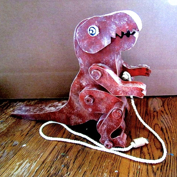 ... pull toy - t rex dinosaur - animated wooden toy - made in Canada
