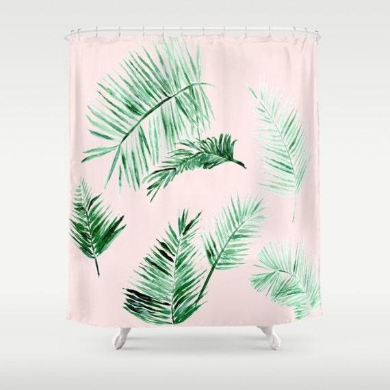 blush pink palm leaf shower curtain leaf shower curtain palm
