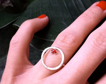 Sterling silver red heart Valentine ring