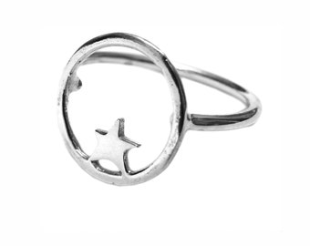 Nova star sterling silver ring