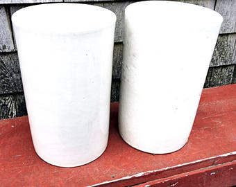 Tall Stoneware Urn Entrance Jardiniere Garden Planter Bohemian White Counter Vase #1
