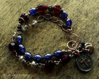 Multi Strand Bracelet Bohemian Wire Wrapped Beaded Bracelet Sapphire Blue Ruby Red Glass Beads Christian Cross Charm Oxidized Copper Boho