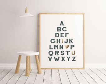 ABC Love Wall Art, Alphabet Art, Gold Foil Look, Nursery Decor, Children's Art Print, Kids Room Wall Art, ABC Print, Kids Bedroom Decor