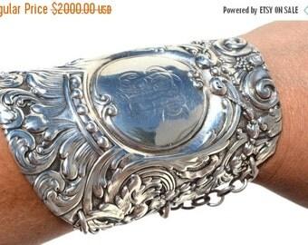 SALE 40% OFF Rare Antique Victorian Tiffany Lion Griffin Art Nouveau Solid Sterling Silver 925  Wide Cuff Bracelet Repousse Baroque Bracer R