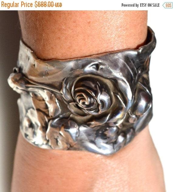 SALE 40% OFF Antique Sterling Silver 925 Floral Art Nouveau Rose Cuff Bracelet Bouquet Bridal .925 Victorian Wedding Gothic