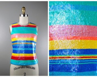 Ralph Lauren Collection Sequin Top // Neon Blue Green Yellow Pink Red Striped Fully Embellished Sequined Top