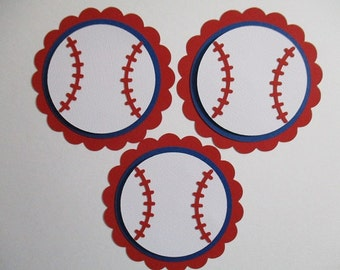 6 Baseball (3 size options) Sport Theme Decorations, Diecut Cutouts, for Centerpiece, Birthday Party, Diaper Cake, Baby Shower, Red Blue