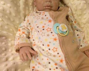 reborn baby boy Kaya sculpt by Eva Helland reborn artist Michele Bouille available for adoption with free shipping