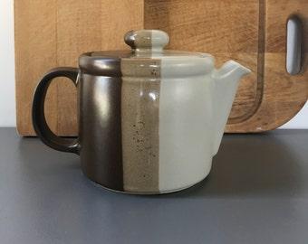 vintage McCoy stoneware teapot browns Lancaster Colony 1418 striped