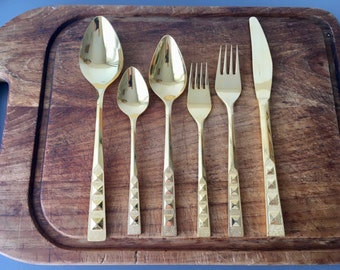 RESERVED vintage Gold plated flatware service for 12 Satellite Stanley Roberts 69 pieces
