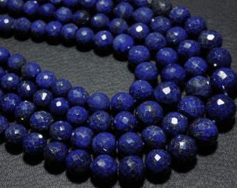 "AA-Lapis Lazuli Faceted Disco Round- 16"" Strand -Stones measure- 5-8mm"