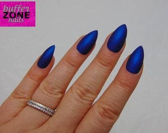 Hand Painted Press On False Nails, Metallic Matte Blue, Long Length Stiletto