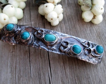 metal barrette with howlite