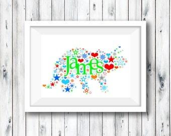 Personalised Name Print, Personalised Print, Nursery Print, Baby, Naming Day, Baby Keepsake, Communion, Custom Butterfly, Custom Dinosaur