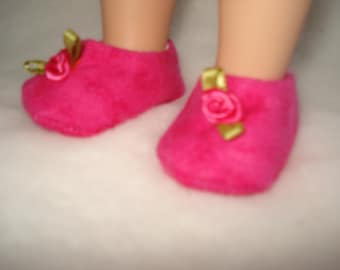 fits 14 1/2 inch girl doll flannel rose pink slippers