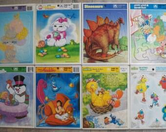 Lot~8 Vintage Golden Frame-Tray Puzzles~Sesame Street/Walt Disney/Frosty/Lamb Chop/Precious Moments/Dinosaur