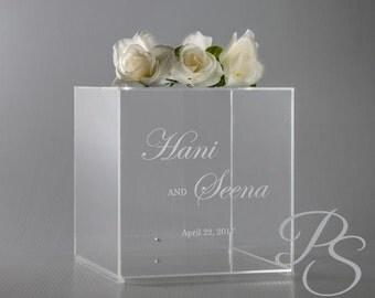 "Wedding Card Box, Money Box, Card Holder, Personalized Wedding Card Box, rustic wedding, unique card box - 12""x12""x12"""