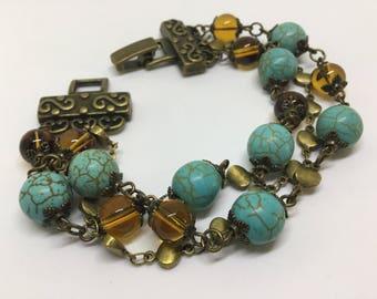 Beautiful Turquoise Antique Bronze Beaded Bracelet.