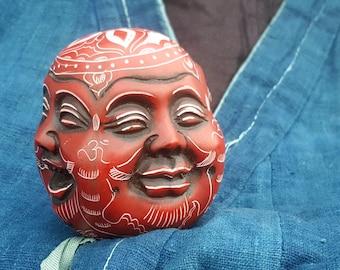 Red Four Face Buddha Tibetan Resin Statue
