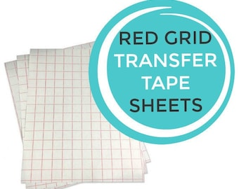 Red Grid Paper Transfer Tape Sheets - Your Choice of Size - Perfect for Vinyl Crafts with Silhouette Cutter