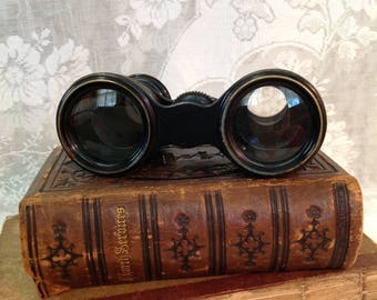 Antique opera theatre glasses small pocket binoculars brass leather French optical salvage steampunk Edwardian Victorian collectible