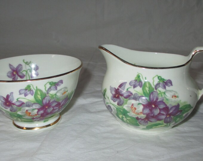 Vintage 1950s Hudson & Middleton Sutherland DEVON VIOLETS Sugar Bowl and Creamer, Bone China