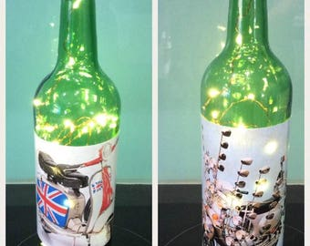 Decorated Wine Bottles - Scooter Decals with Lights
