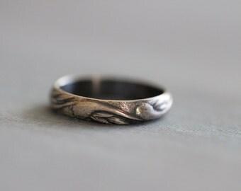 EMMA: Sterling Silver, Wedding Band, Ladies, Wedding Ring, Botanical, Modern, Minimal, HERS,  Rustic, Bohemian,  Made To Order
