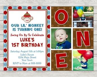 Sock Monkey Birthday Invitation - Printable File or Printed Invitations
