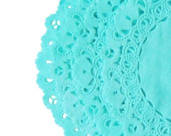 "TIFFANY® Blue Aqua Paper Doilies | 4"" 5"" 6"" 8"" 10"" 12"" 14"" 16"" Sizes | Hand Dyed Lace Doily Teal Color Paper Doily | The Paper Doily Store"