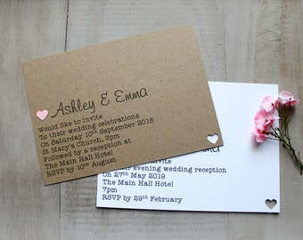 Handmade Wedding Invitations Day/Evening Heart Budget Shabby Chic/Vintage