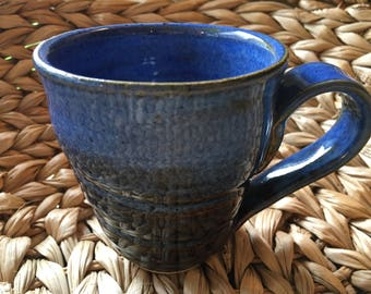 Wheel Thrown Stoneware Pottery Mug Blue & Brown
