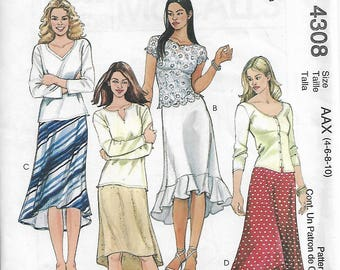 McCall's 4308 Size 4-6-8-10 Misses'/Miss Petite Bias Skirts Sewing Pattern 2003 Uncut