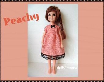 SALE = Vintage Ideal CRISSY Doll CLOTHES - Peachy Baby-Doll Dress - Handmade Custom Fashion - by dolls4emma