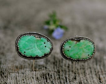 antique jadeite earrings, China's Qing dynasty carved jadeite earrings set in silver, an authentic piece of  China's past